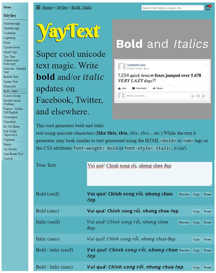 Yaytext dùng để chỉnh kiểu chữ trong Facebook