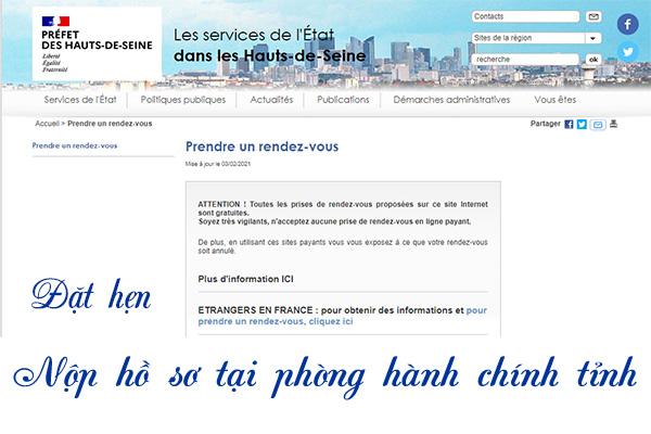Nộp hồ sơ tại phòng hành chính tỉnh ::: préfecture